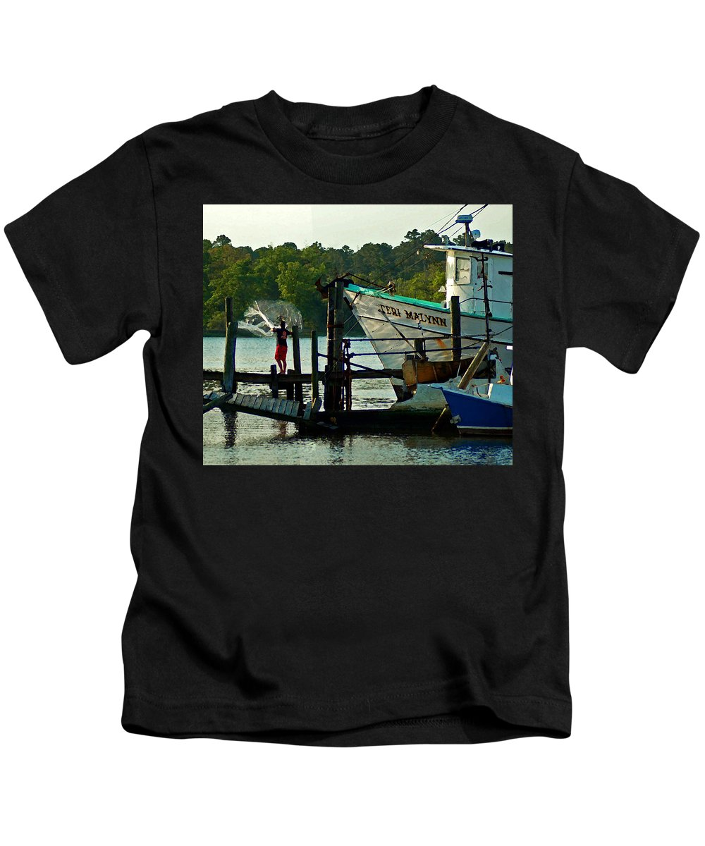 Shrimp Boat Kids T-Shirt featuring the painting Early Morning Net Toss by Michael Thomas