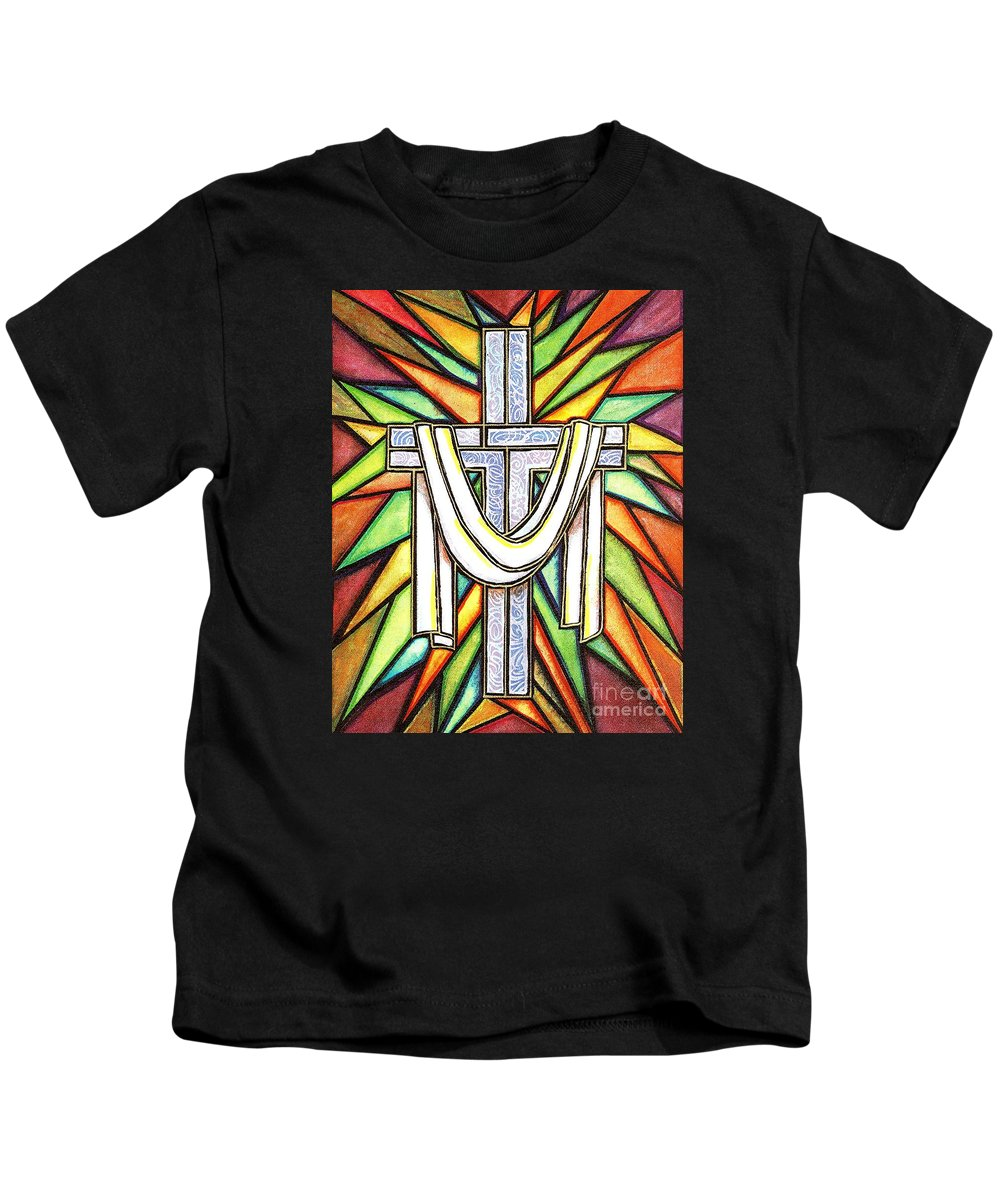 Cross Kids T-Shirt featuring the painting Easter Cross 5 by Jim Harris