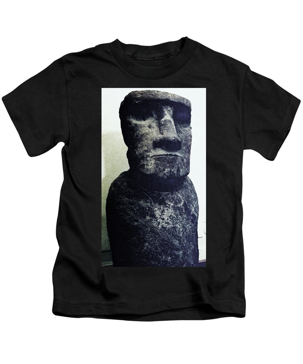Easter Island Kids T-Shirt featuring the painting Easter Island Stone Statue by Eric Schiabor