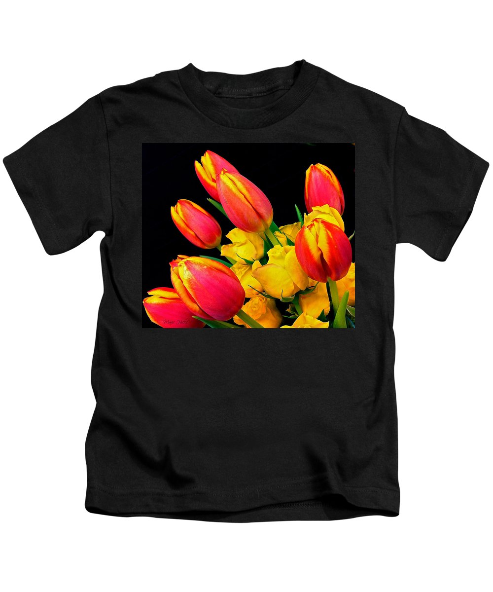 Tulip Kids T-Shirt featuring the photograph Easter Tulips And Roses by Marie Hicks