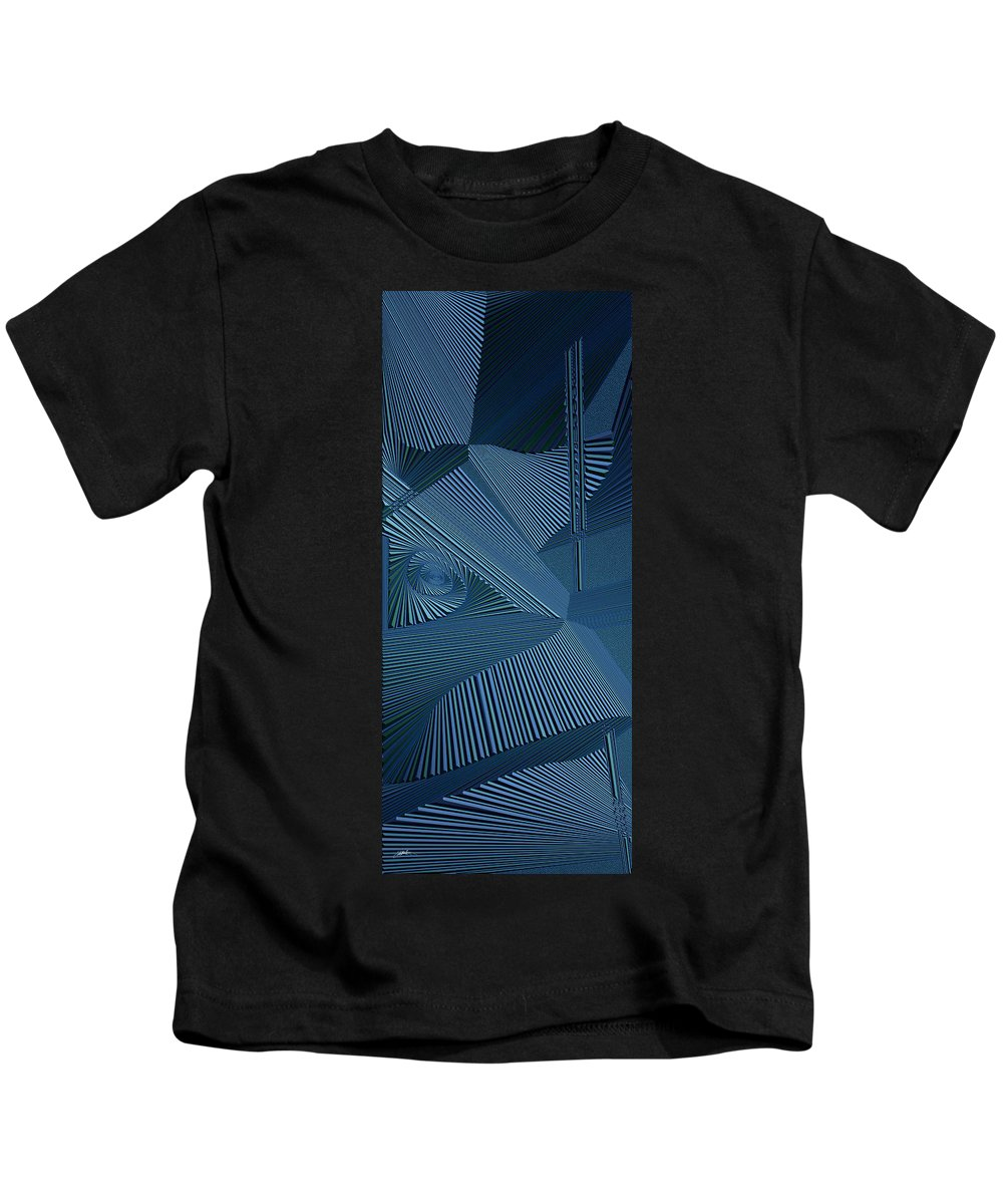 Dynamic Black And Seaweed Kids T-Shirt featuring the painting Ecnedifnoc by Douglas Christian Larsen