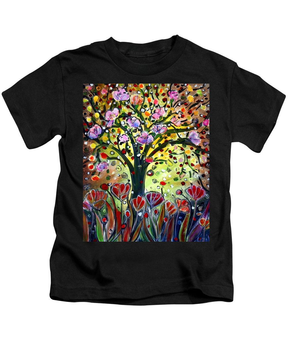 Flowers Kids T-Shirt featuring the painting Eden Garden by Luiza Vizoli