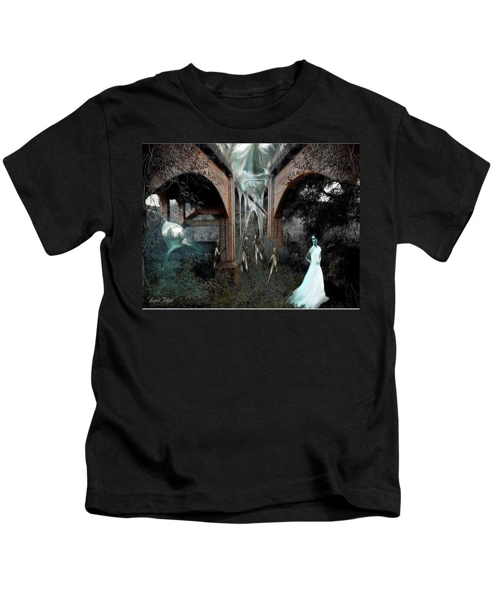 Eden Surreal Creatures Bridges Dreaming Kids T-Shirt featuring the digital art Eden by Veronica Jackson
