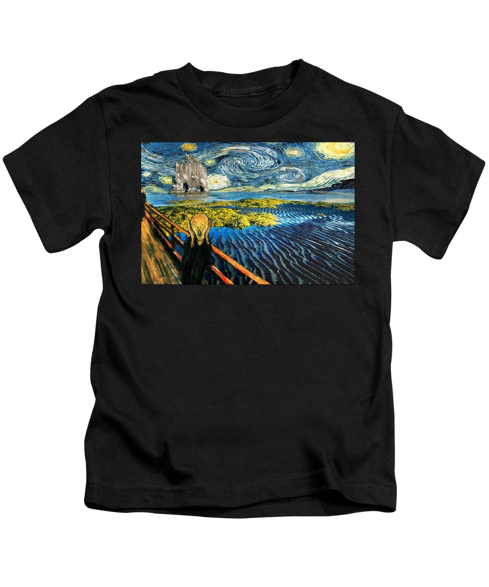 Van Gogh Kids T-Shirt featuring the painting Edvard Meets Vincent Posters by Gravityx9 Designs