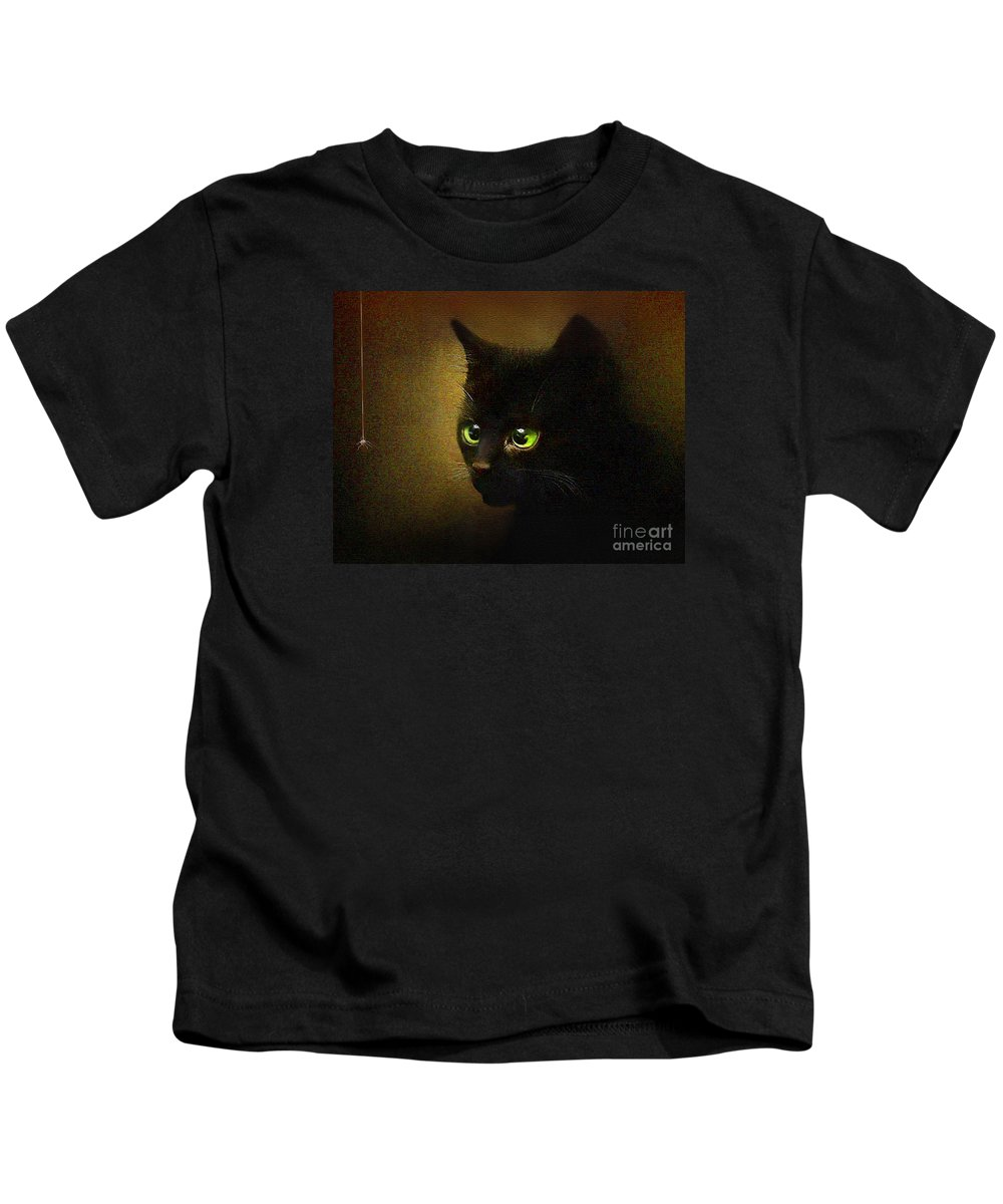 Kitten Kids T-Shirt featuring the painting Eensy Weensy by Robert Foster