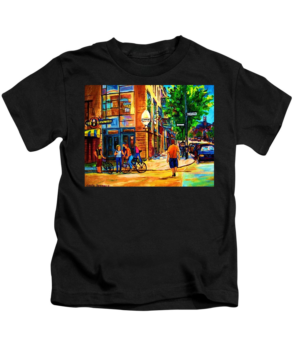 Eggspectation Cafe On Esplanade Kids T-Shirt featuring the painting Eggspectation Cafe On Esplanade by Carole Spandau