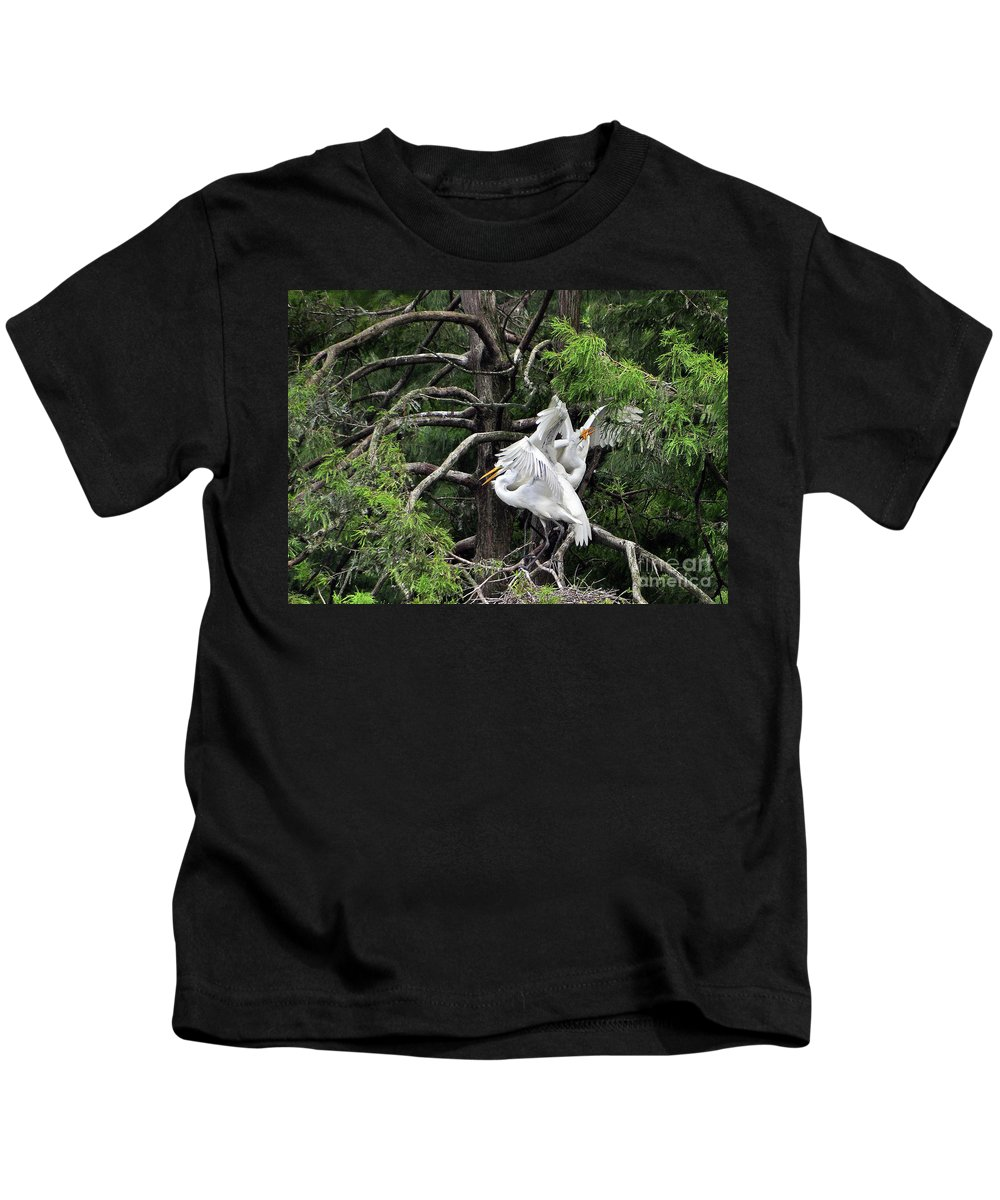 Egret Kids T-Shirt featuring the photograph Egret Morning by Lydia Holly