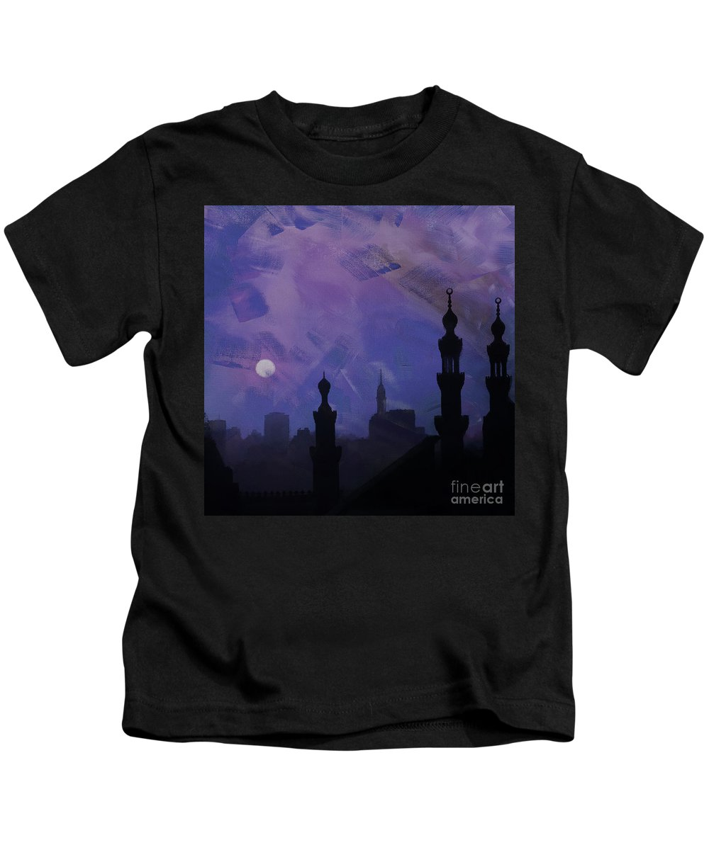 Minaret Kids T-Shirt featuring the painting Egypt Mosque by Gull G