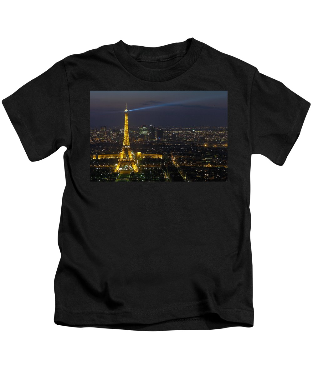 Eiffel Kids T-Shirt featuring the photograph Eiffel Tower At Night by Sebastian Musial