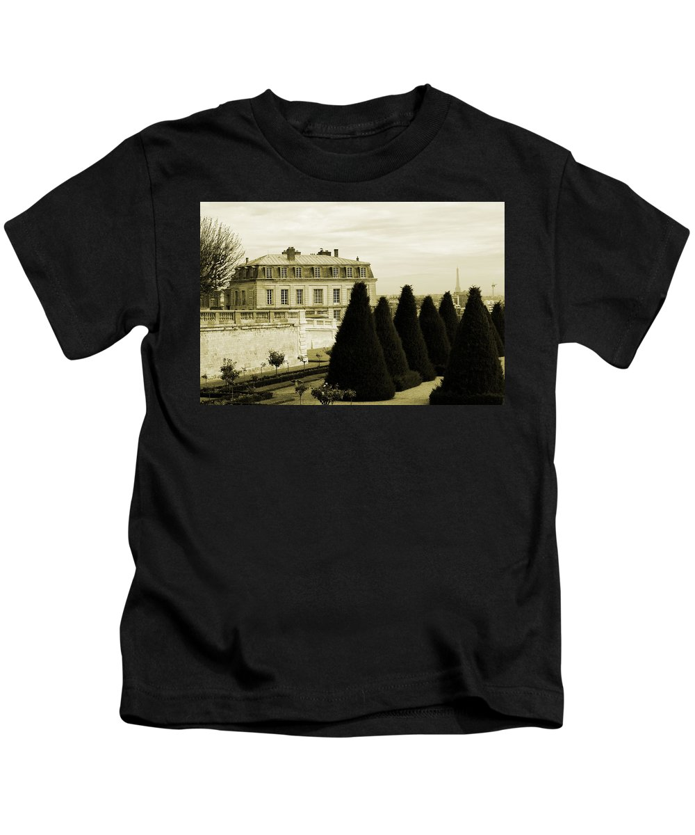 Paris Kids T-Shirt featuring the photograph Eiffel Tower From St Cloud by Alison Stevenson