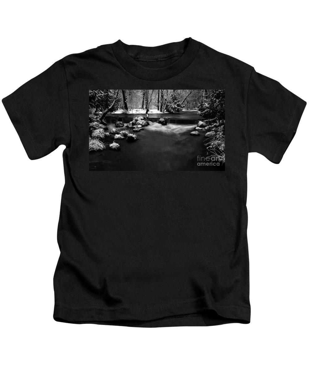 Creek Kids T-Shirt featuring the photograph Eisbach In The Winter by Hannes Cmarits