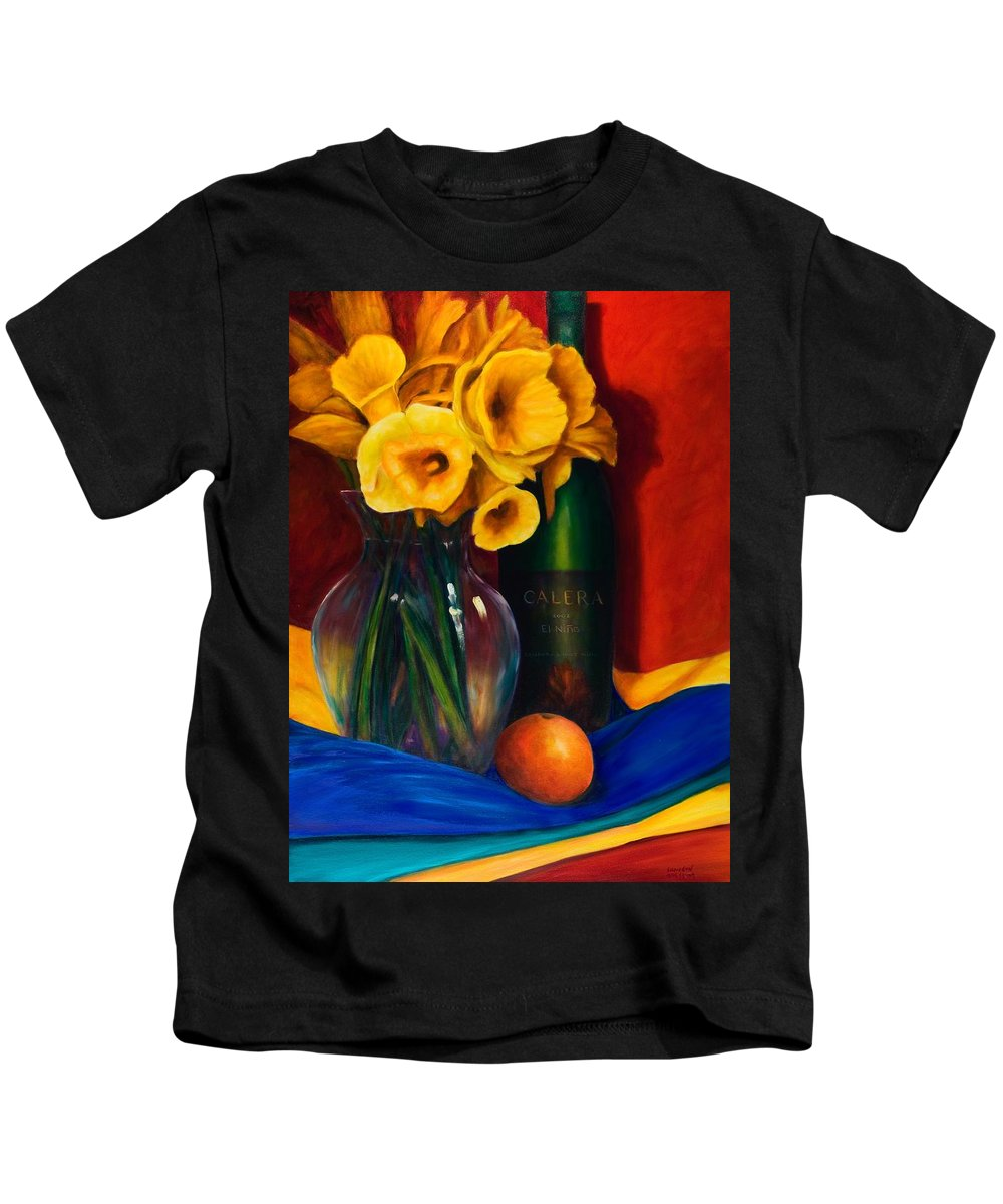 Red Kids T-Shirt featuring the painting El Nino by Shannon Grissom