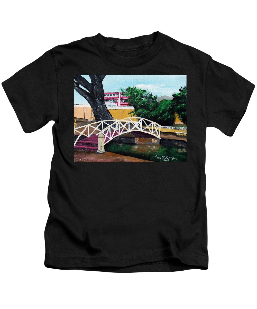 Aguadilla Kids T-Shirt featuring the painting El Parterre by Luis F Rodriguez