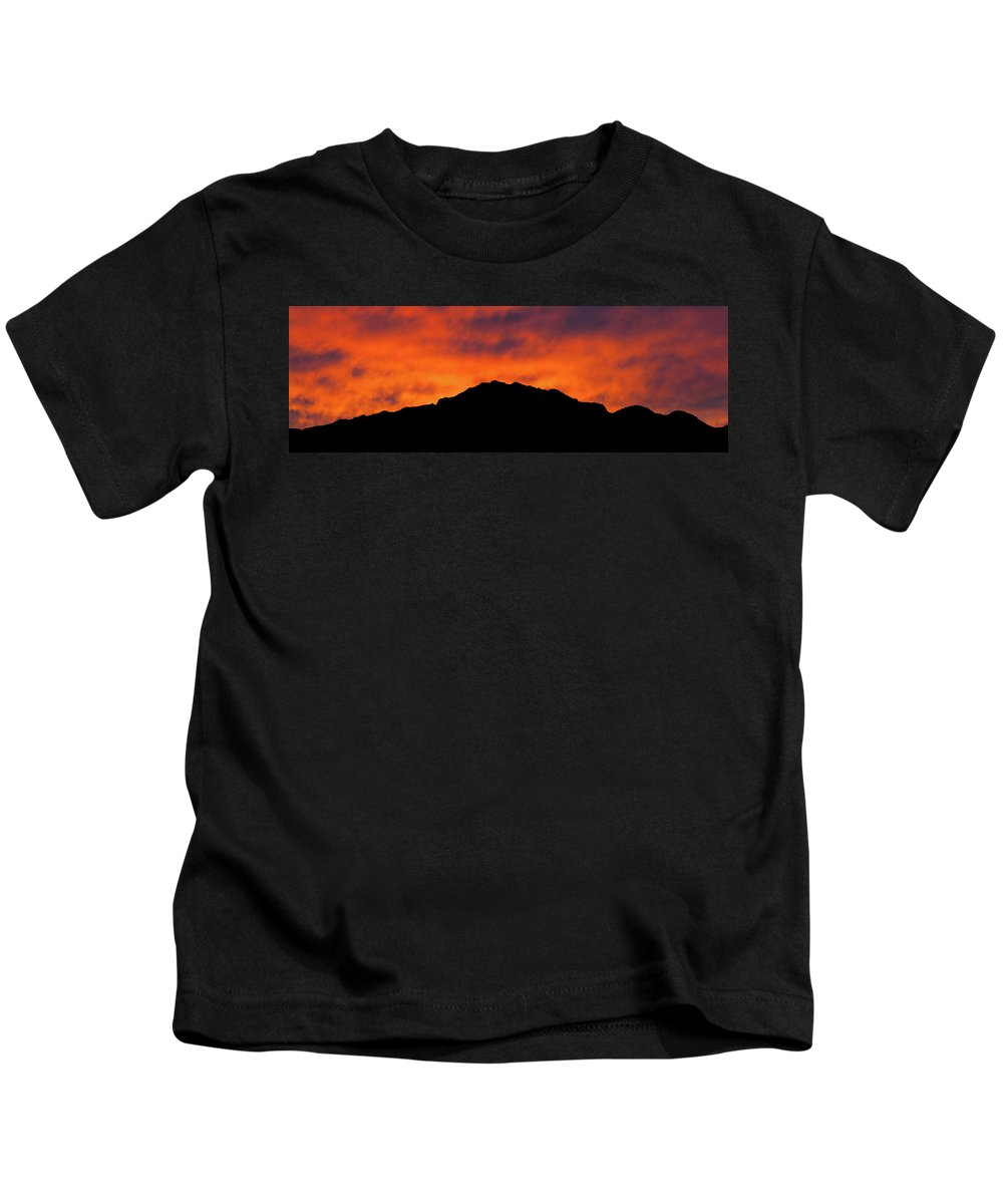 Castner Range Kids T-Shirt featuring the photograph El Paso Fiery Sunset Panoramic by SR Green