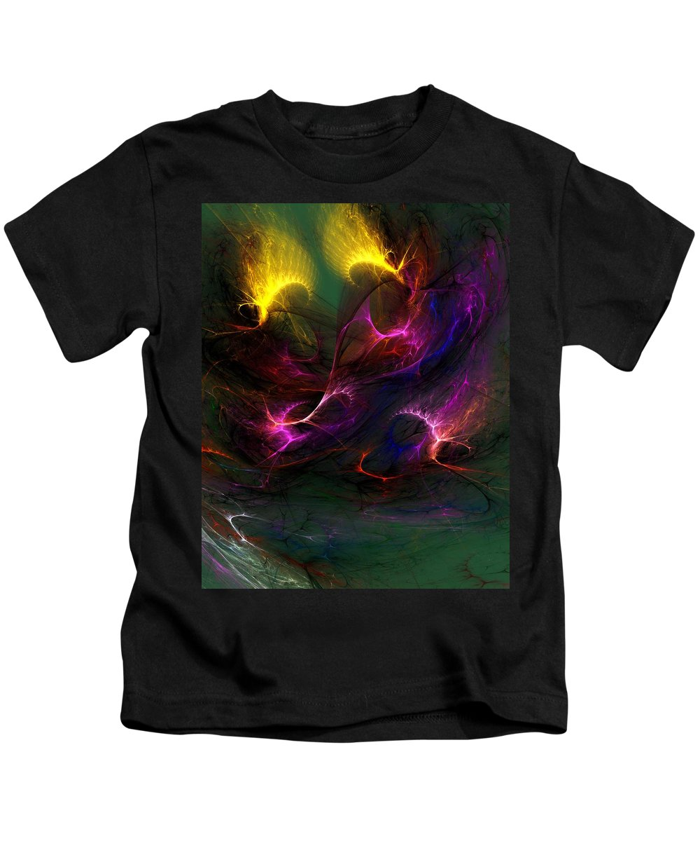 Digital Painting Kids T-Shirt featuring the digital art Electric Abstract 052510 by David Lane