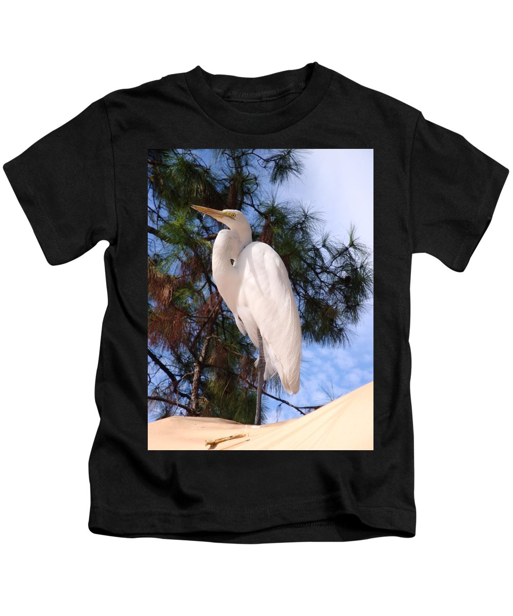 Bird Kids T-Shirt featuring the photograph Elegant White Crane by Kim Chernecky