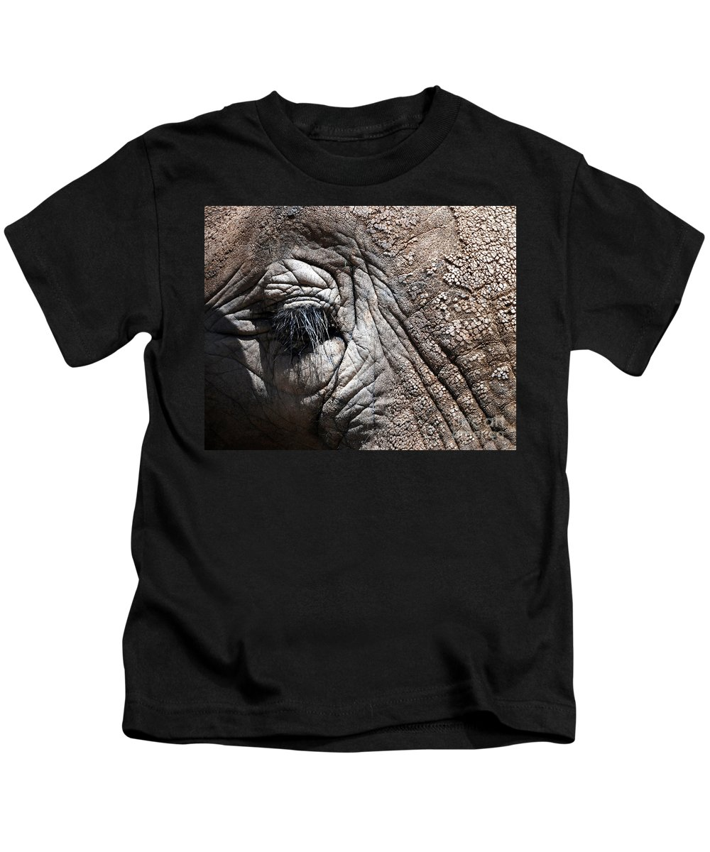 Animals Kids T-Shirt featuring the photograph Elephant Eye by Norman Andrus