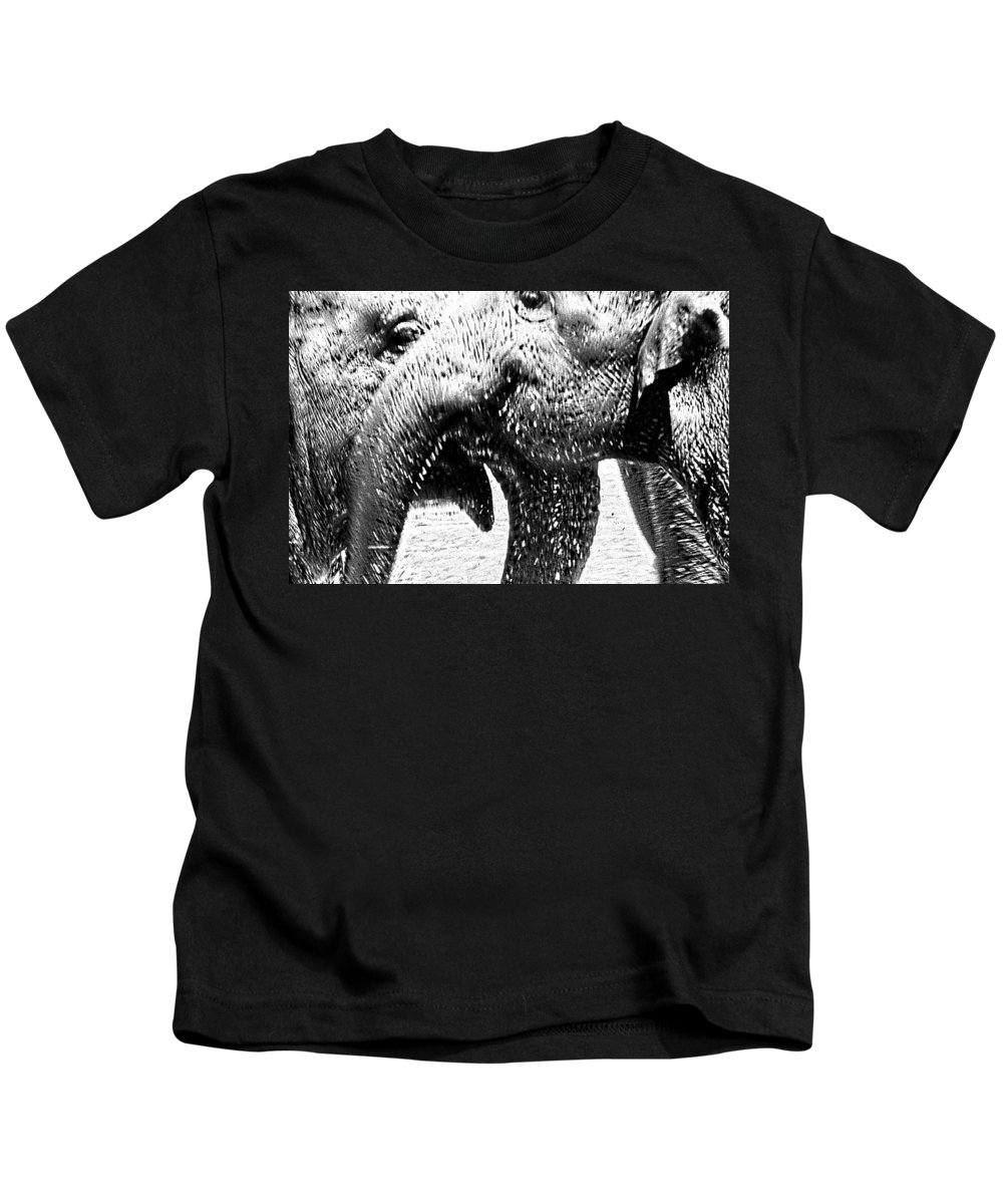 Elephants Kids T-Shirt featuring the digital art Elephant Gossip by Cathy Anderson