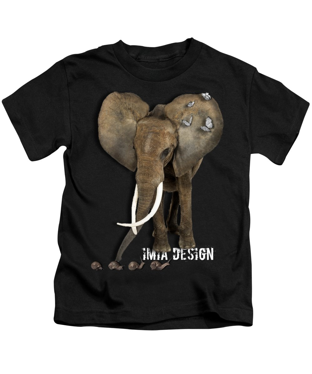 Imia Design Kids T-Shirt featuring the digital art Elephant No 04 by Maria Astedt