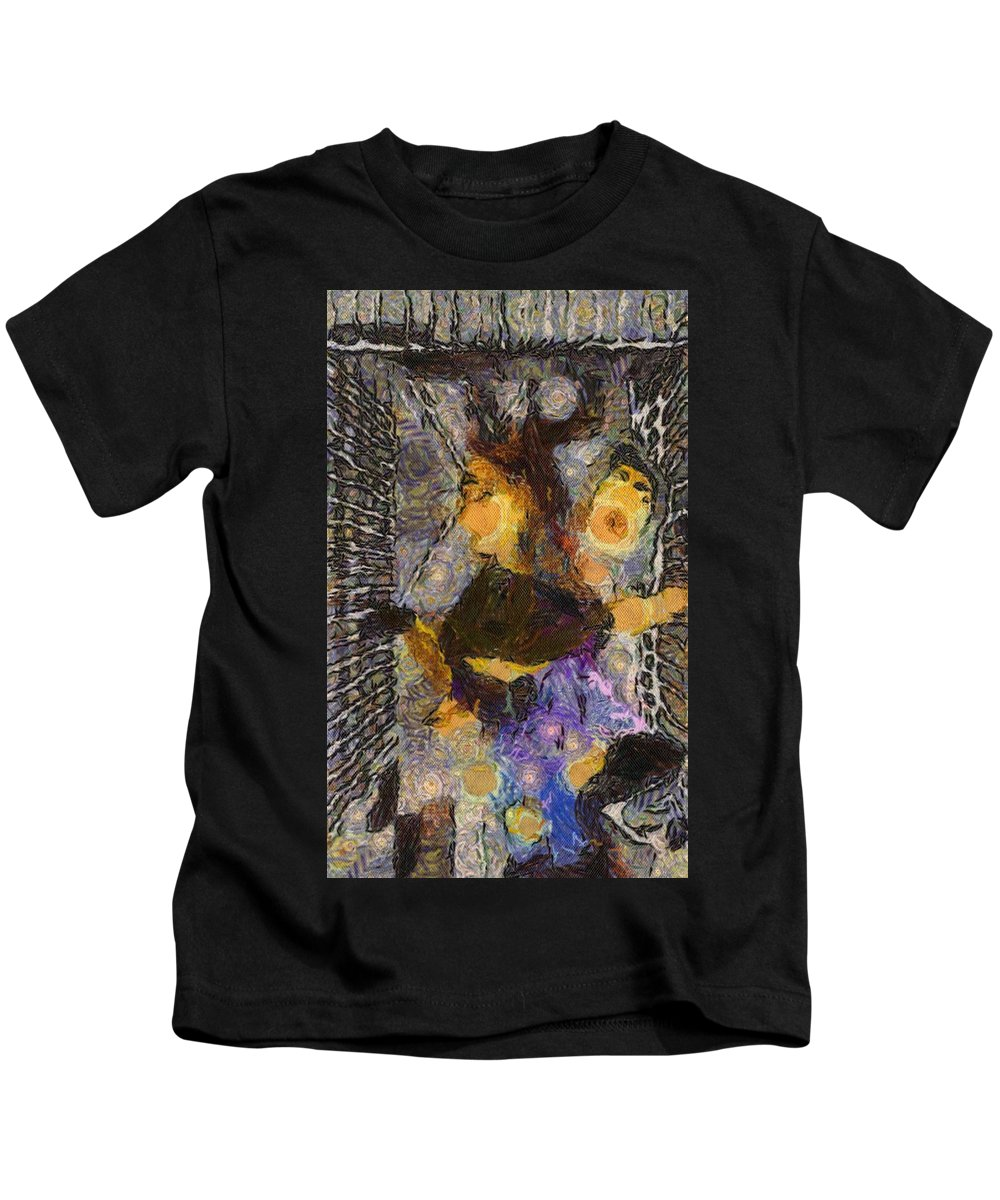 Elevator Kids T-Shirt featuring the digital art Elevatorture by Marcia Kaye Rogers