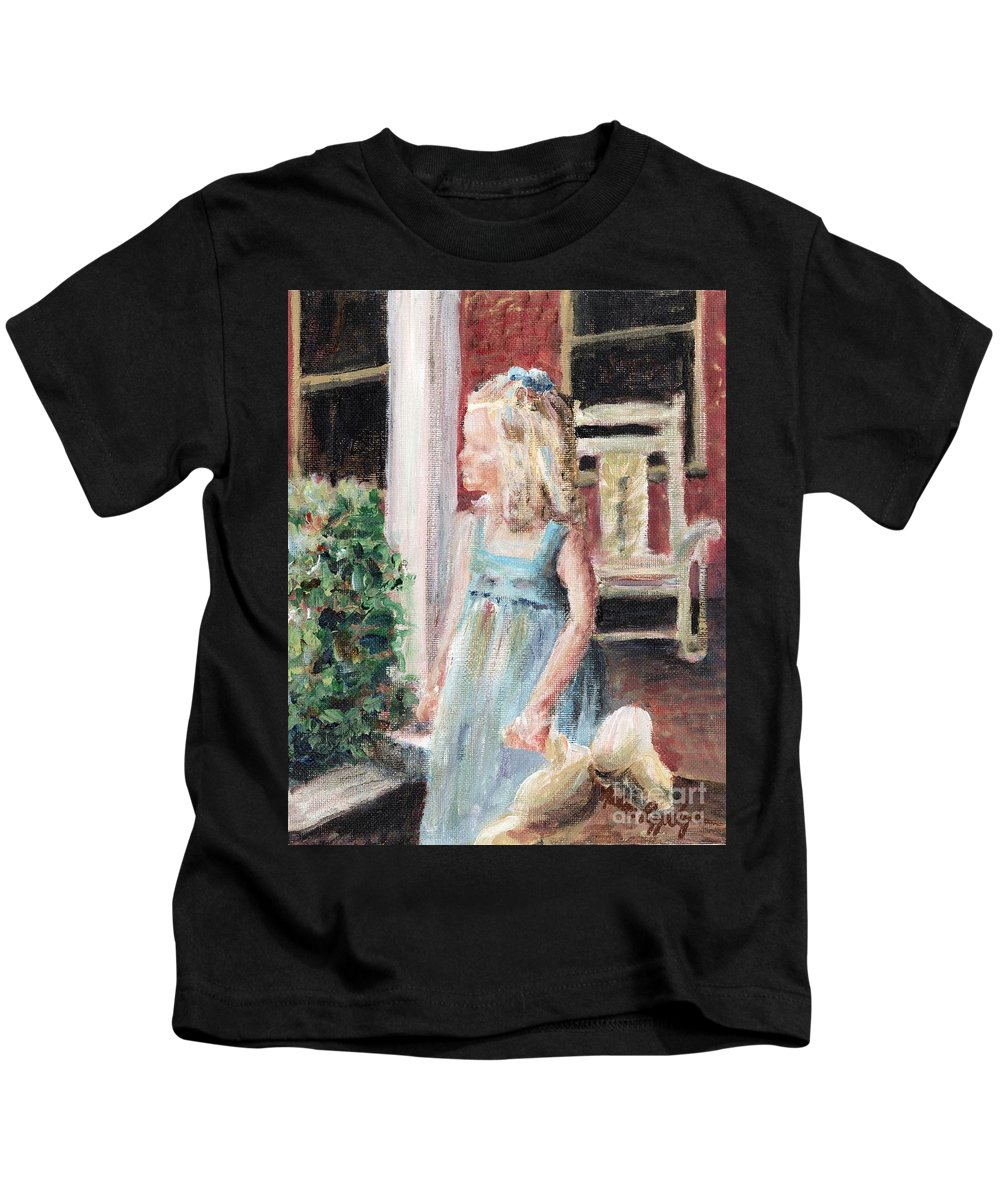 Girl Kids T-Shirt featuring the painting Elizabeth Anne by Nadine Rippelmeyer