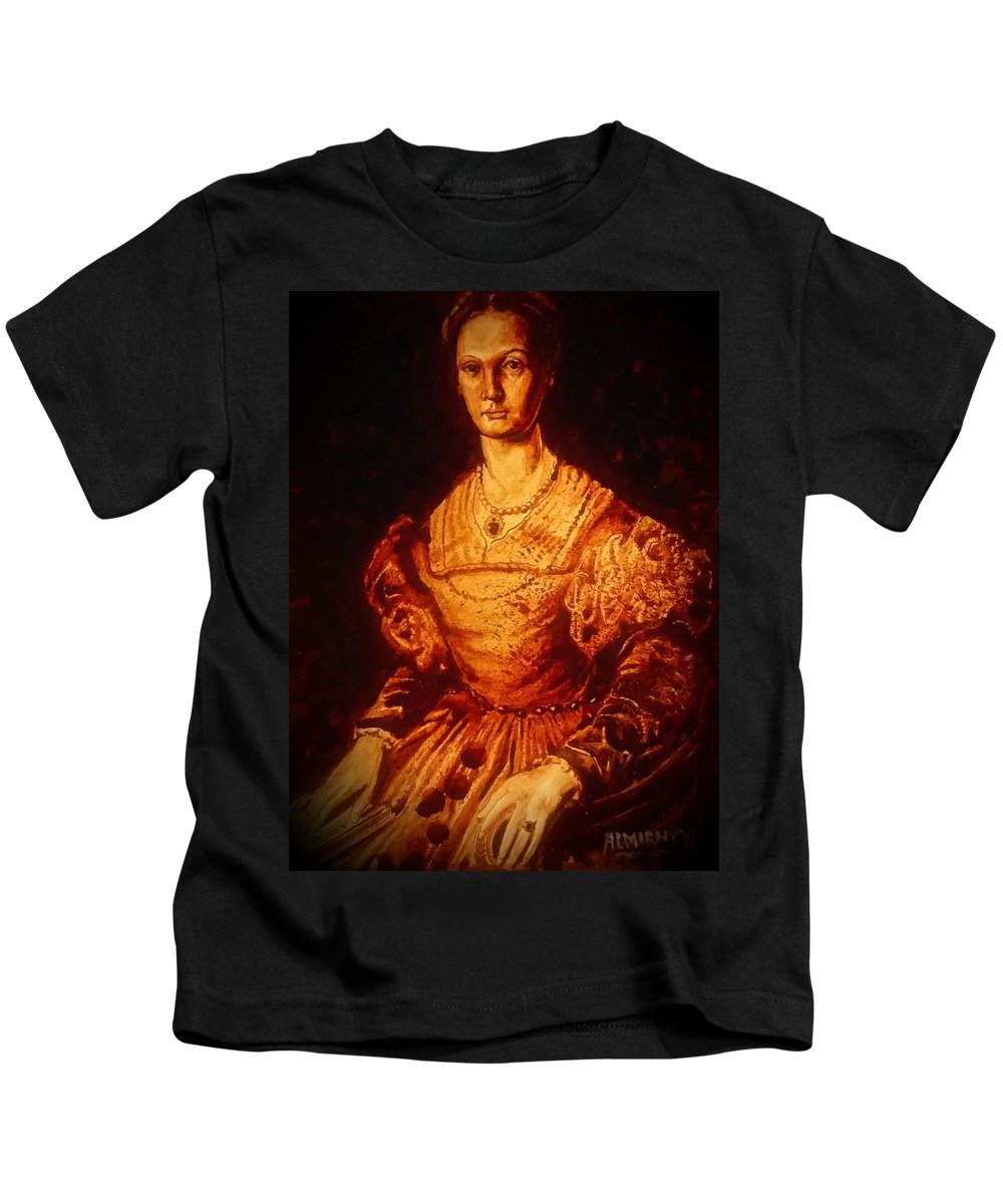 Ryan Almighty Kids T-Shirt featuring the painting Elizabeth Bathory - Fresh Blood by Ryan Almighty