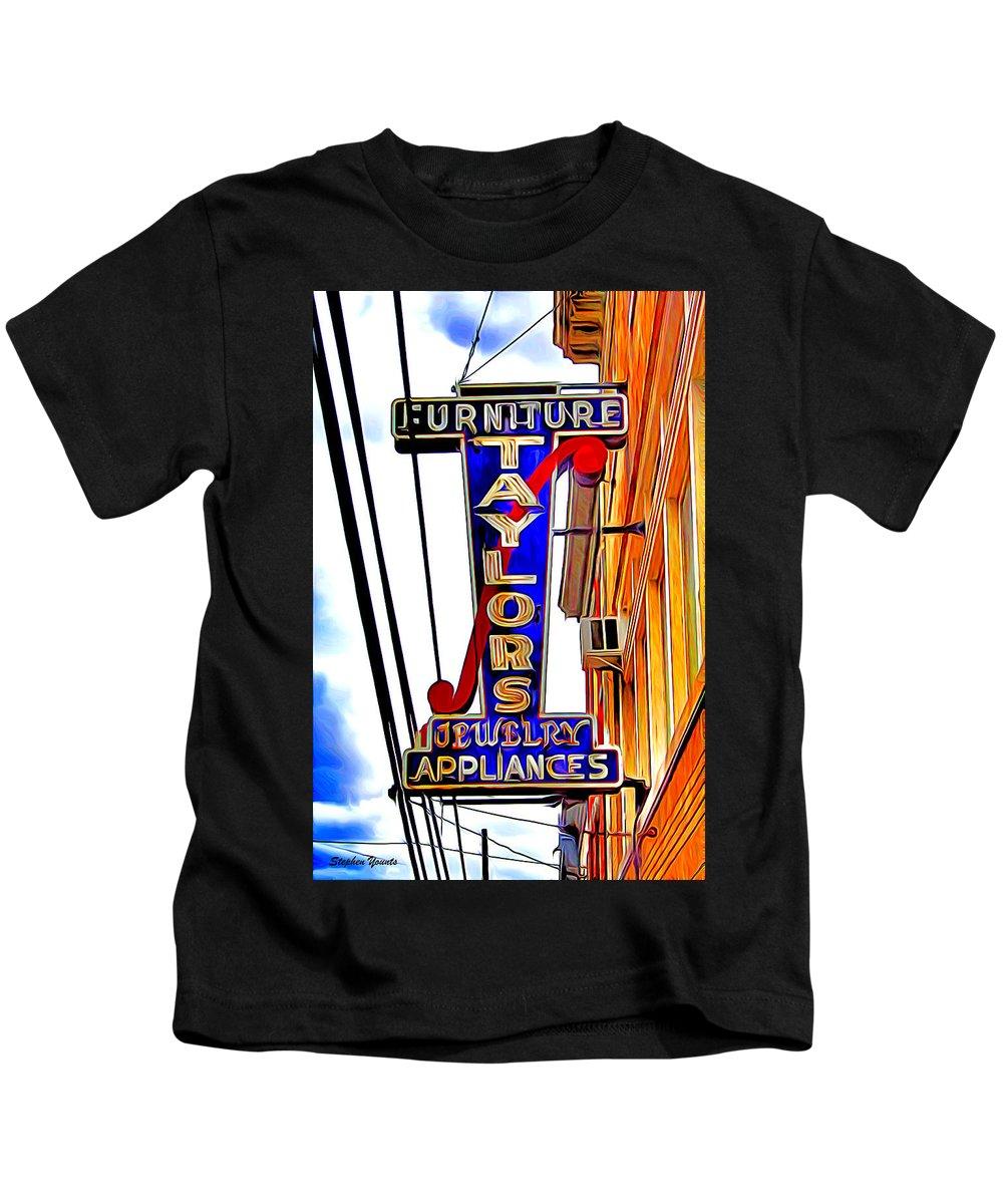 Ellicott Kids T-Shirt featuring the digital art Ellicott City Taylor's Sign by Stephen Younts