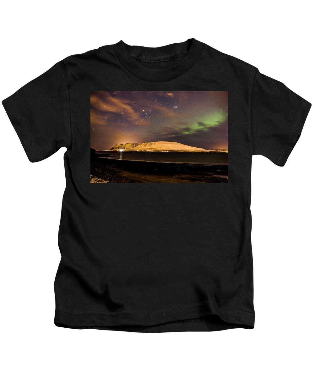 Landscape Kids T-Shirt featuring the photograph Elv Or Troll And Viking With A Sword In The Northern Light by Benjamin Wiedmann