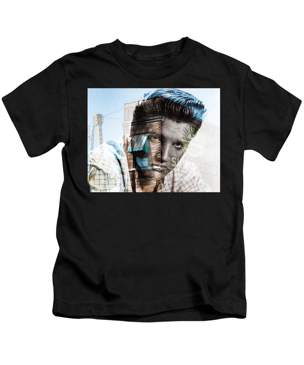 Elvis Art Kids T-Shirt featuring the mixed media Elvis Presley Sun Studio Collection by Marvin Blaine