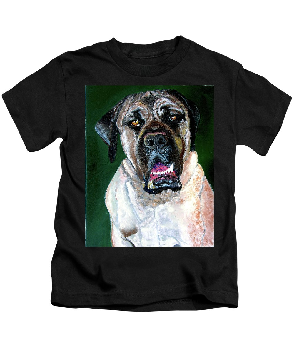 Dog Portrait Kids T-Shirt featuring the painting Ely by Stan Hamilton