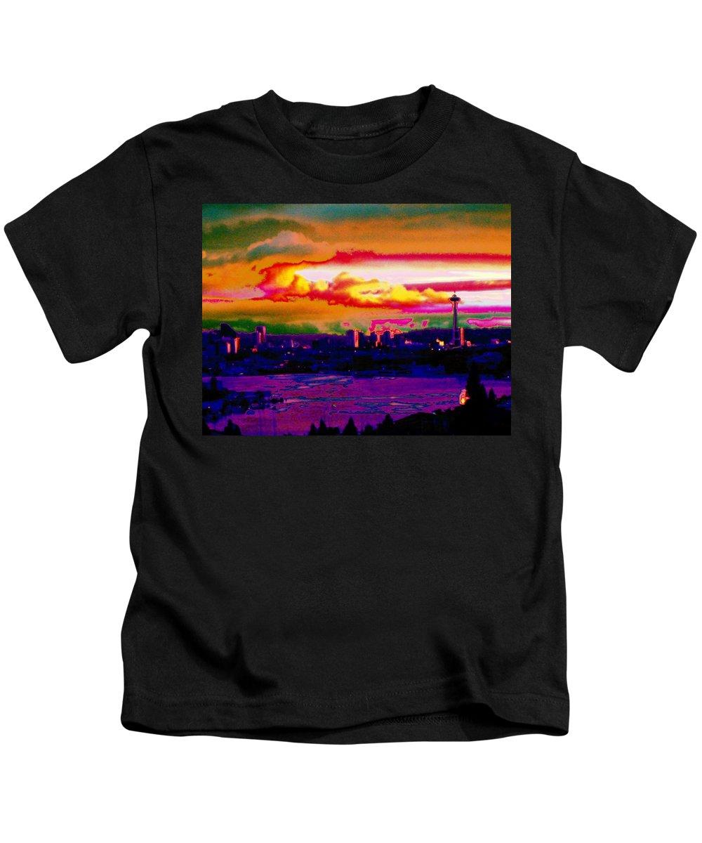 Seattle Kids T-Shirt featuring the photograph Emerald City Sunset by Tim Allen