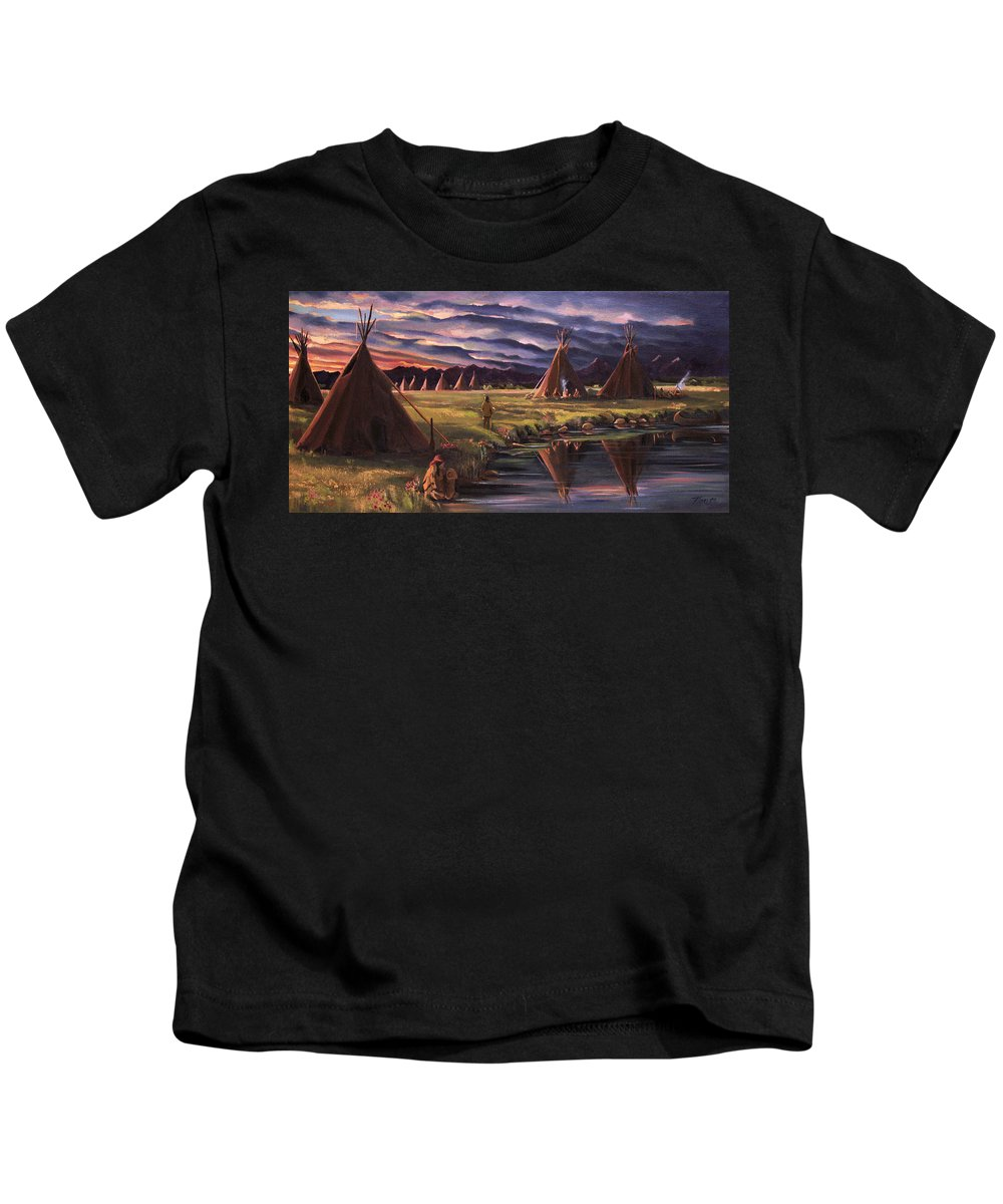 Native American Kids T-Shirt featuring the painting Encampment at Dusk by Nancy Griswold