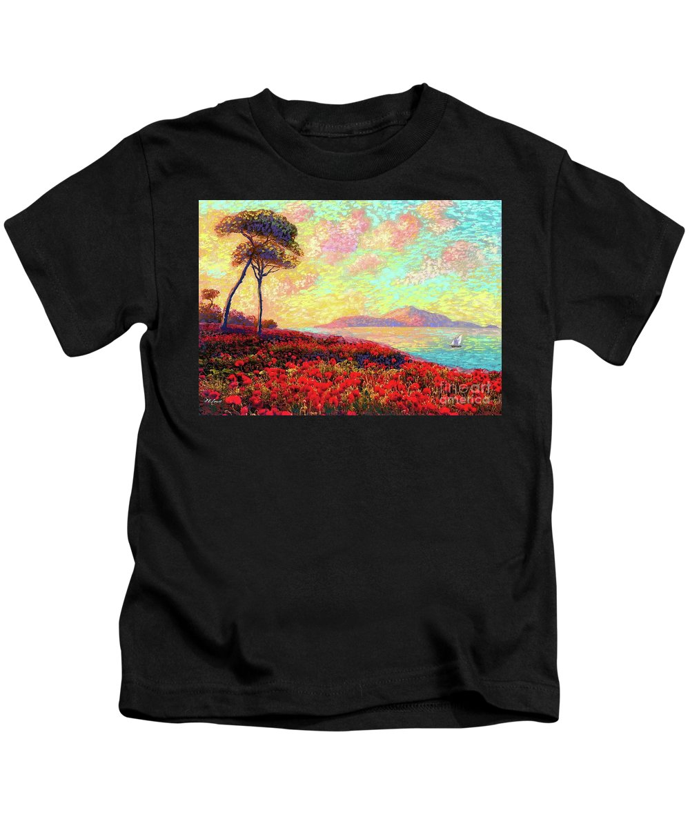 Wildflower Kids T-Shirt featuring the painting Enchanted By Poppies by Jane Small