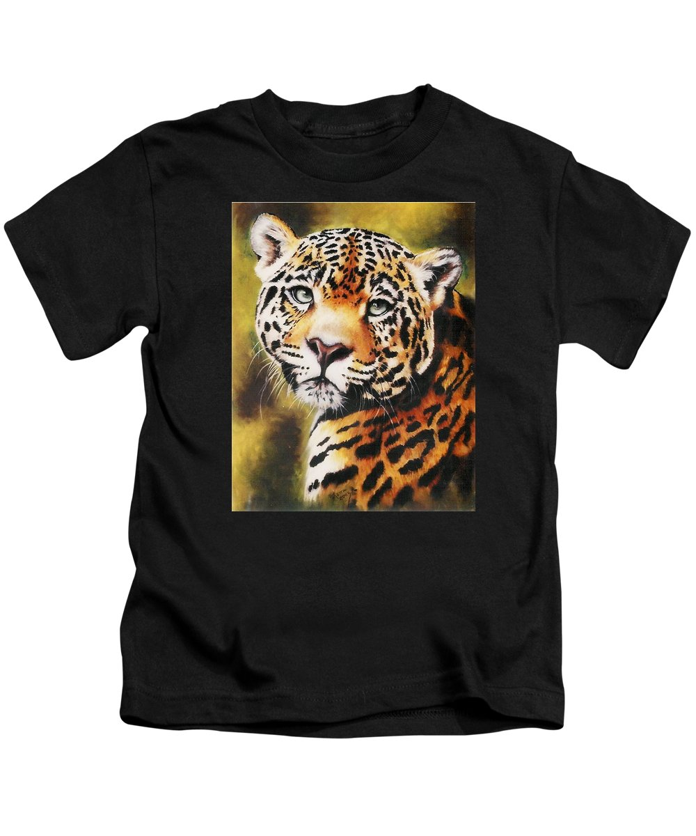Jaguar Kids T-Shirt featuring the pastel Enchantress by Barbara Keith