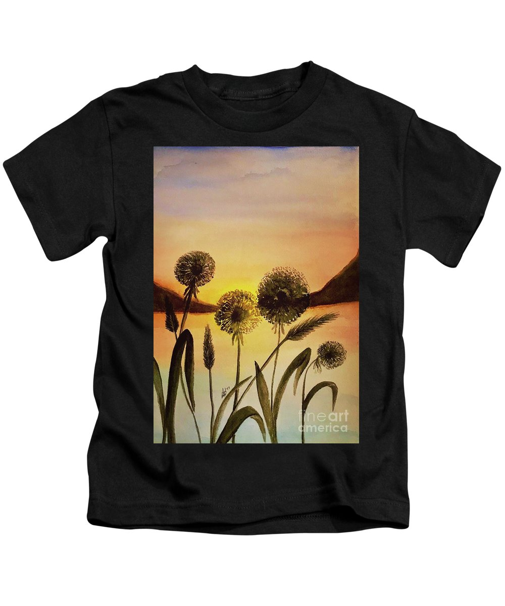 Landscape Kids T-Shirt featuring the painting End Of Summer by Gail Nandlal