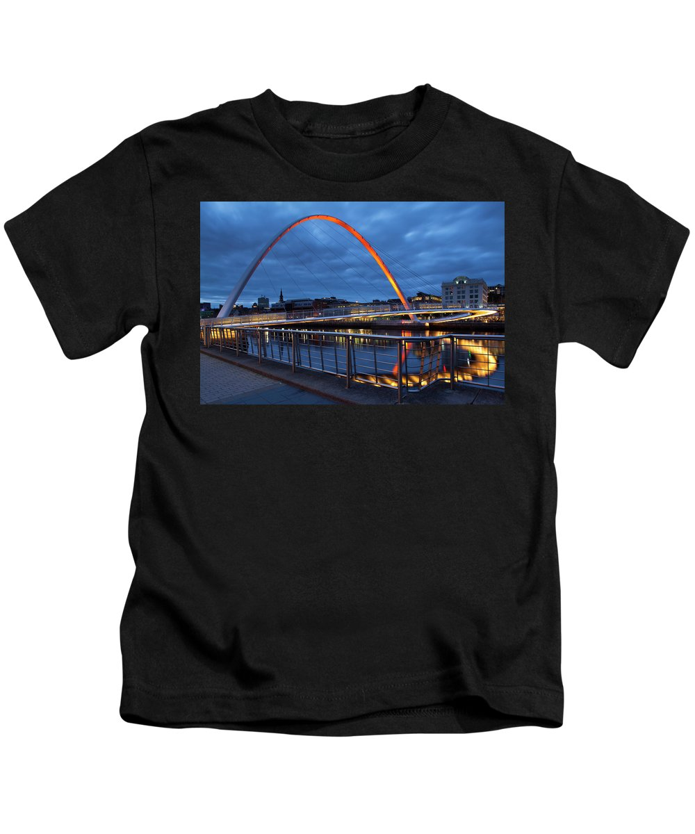 Bridge Kids T-Shirt featuring the photograph England, Tyne And Wear, Gateshead Millennium Bridge. by Jason Friend