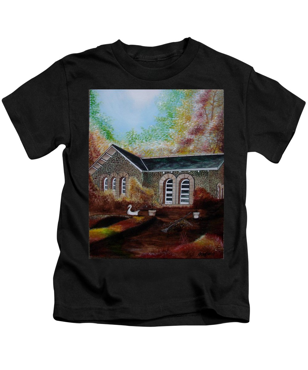 Autmn Kids T-Shirt featuring the painting English Cottage In The Autumn by Glory Fraulein Wolfe