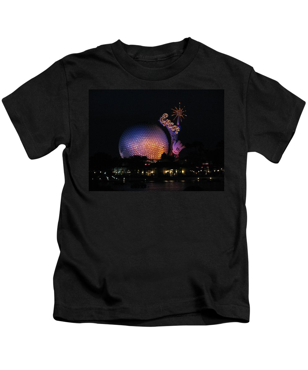 Epcot Kids T-Shirt featuring the photograph Epcot At Night II by Stacey May