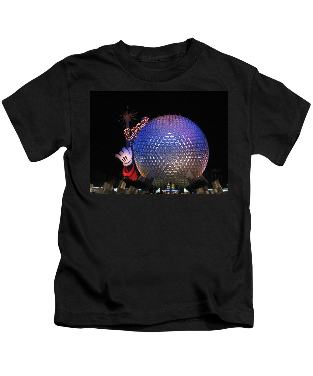 Epcot Kids T-Shirt featuring the photograph Epcot At Night by Stacey May