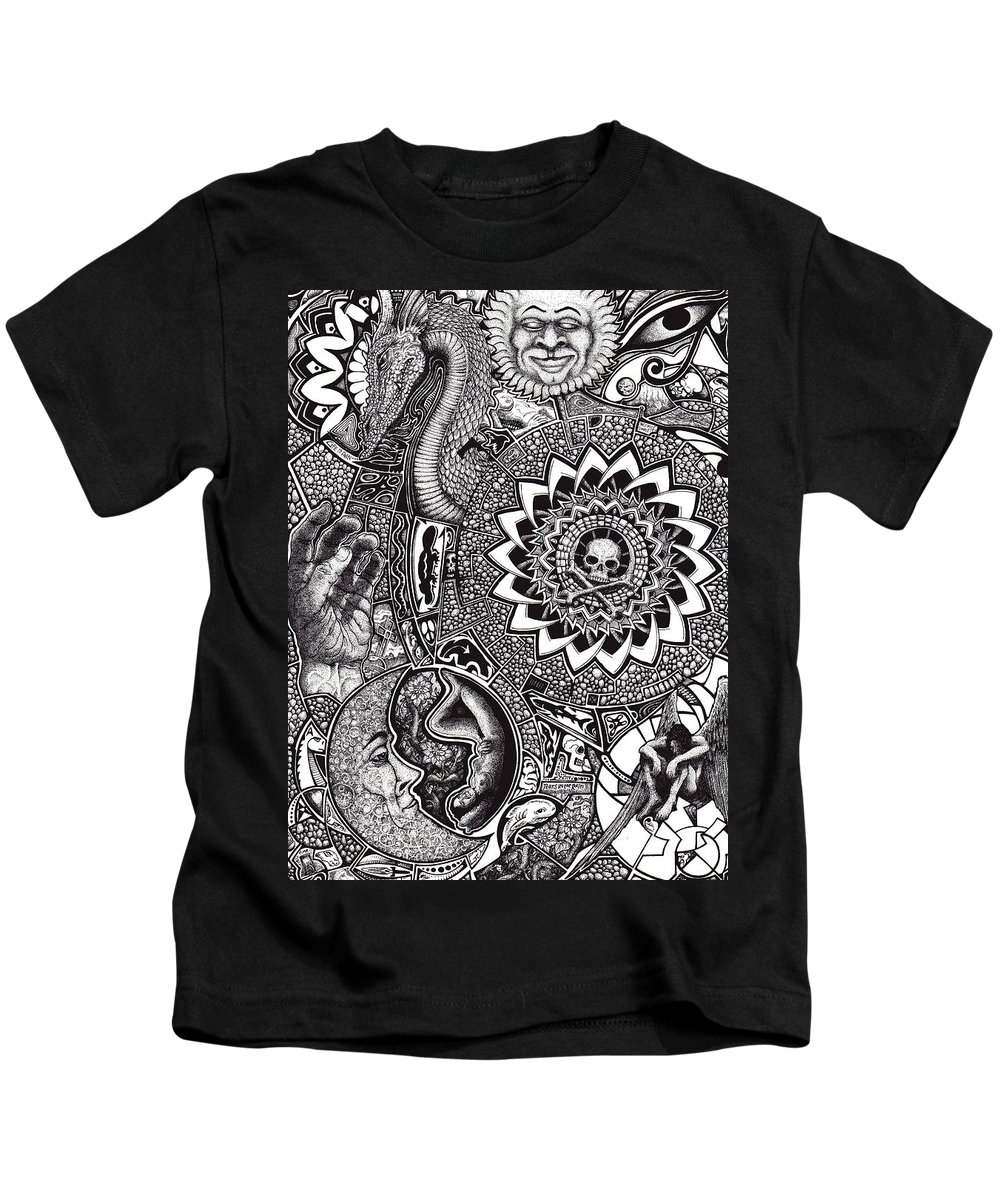 Black And White Kids T-Shirt featuring the drawing Epiphany by Tobey Anderson