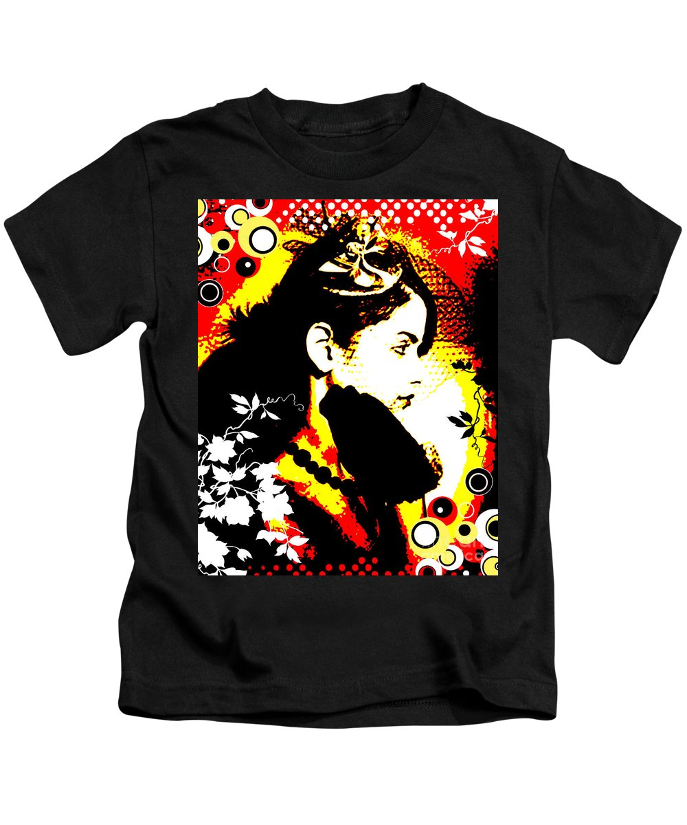 Nostalgic Seduction Kids T-Shirt featuring the digital art Erotic Mystery by Chris Andruskiewicz