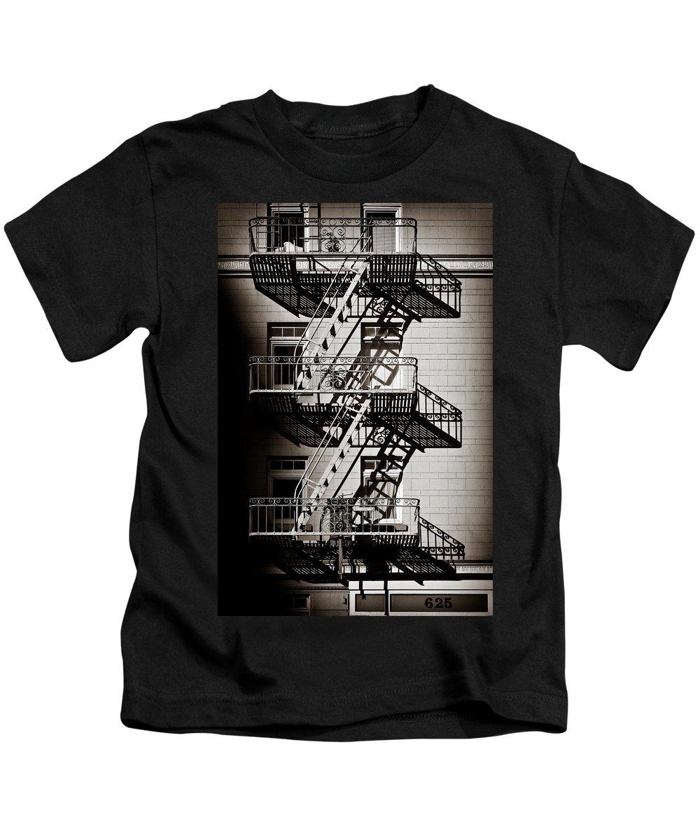 Fire Escape Kids T-Shirt featuring the photograph Escape by Dave Bowman