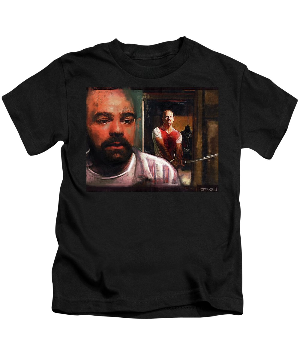 Pulp Kids T-Shirt featuring the painting Escape From Sodom - Pulp Fiction by Joseph Oland