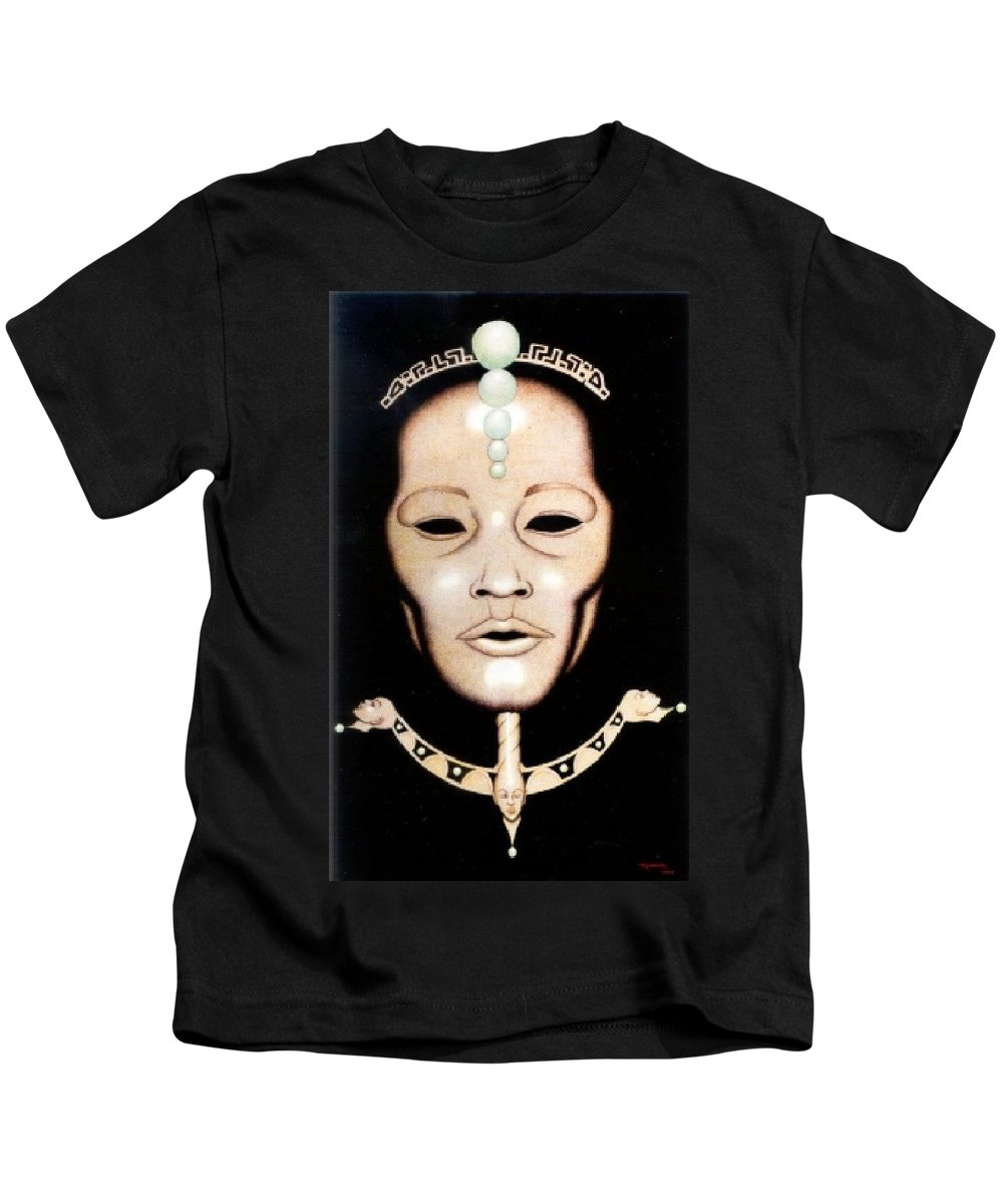 Mask Kids T-Shirt featuring the drawing Esoteric Masque by Jay Thomas II