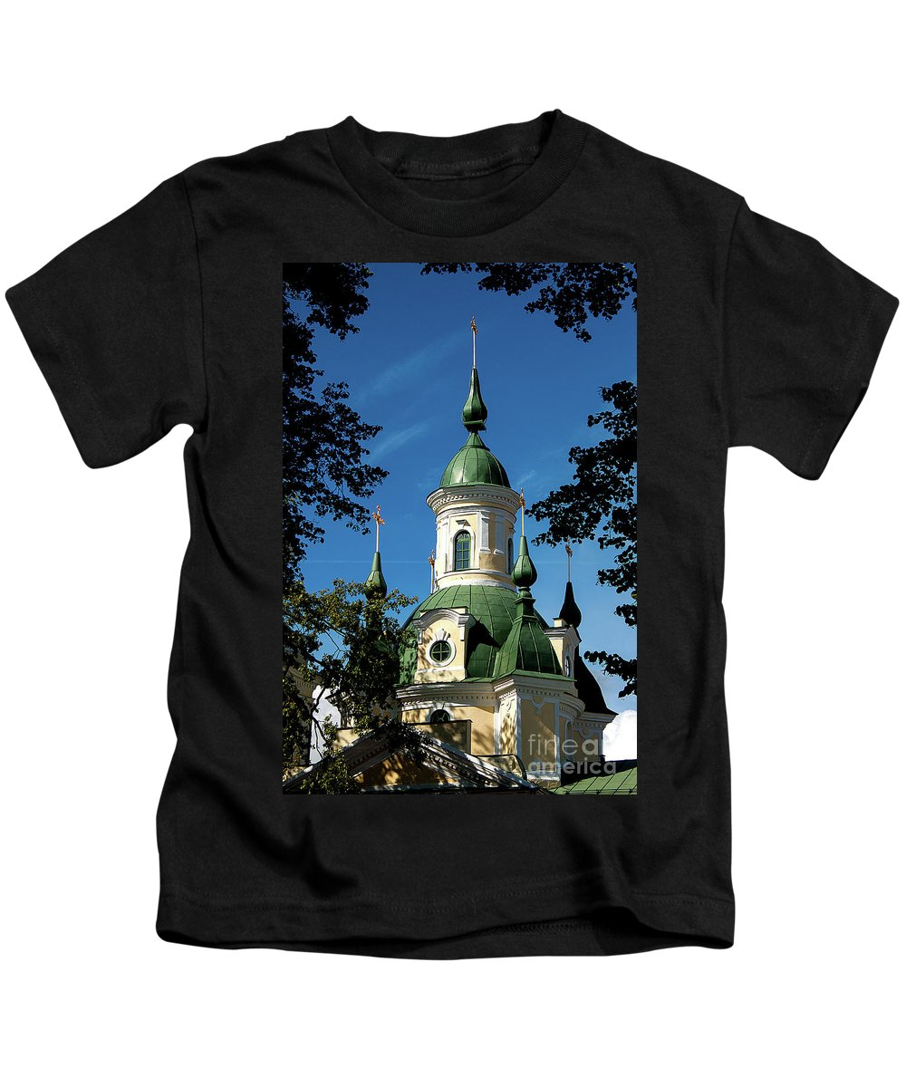 St. Catherine`s Church Kids T-Shirt featuring the photograph Estonian Church Orthodox And Baroque by Christian Hallweger