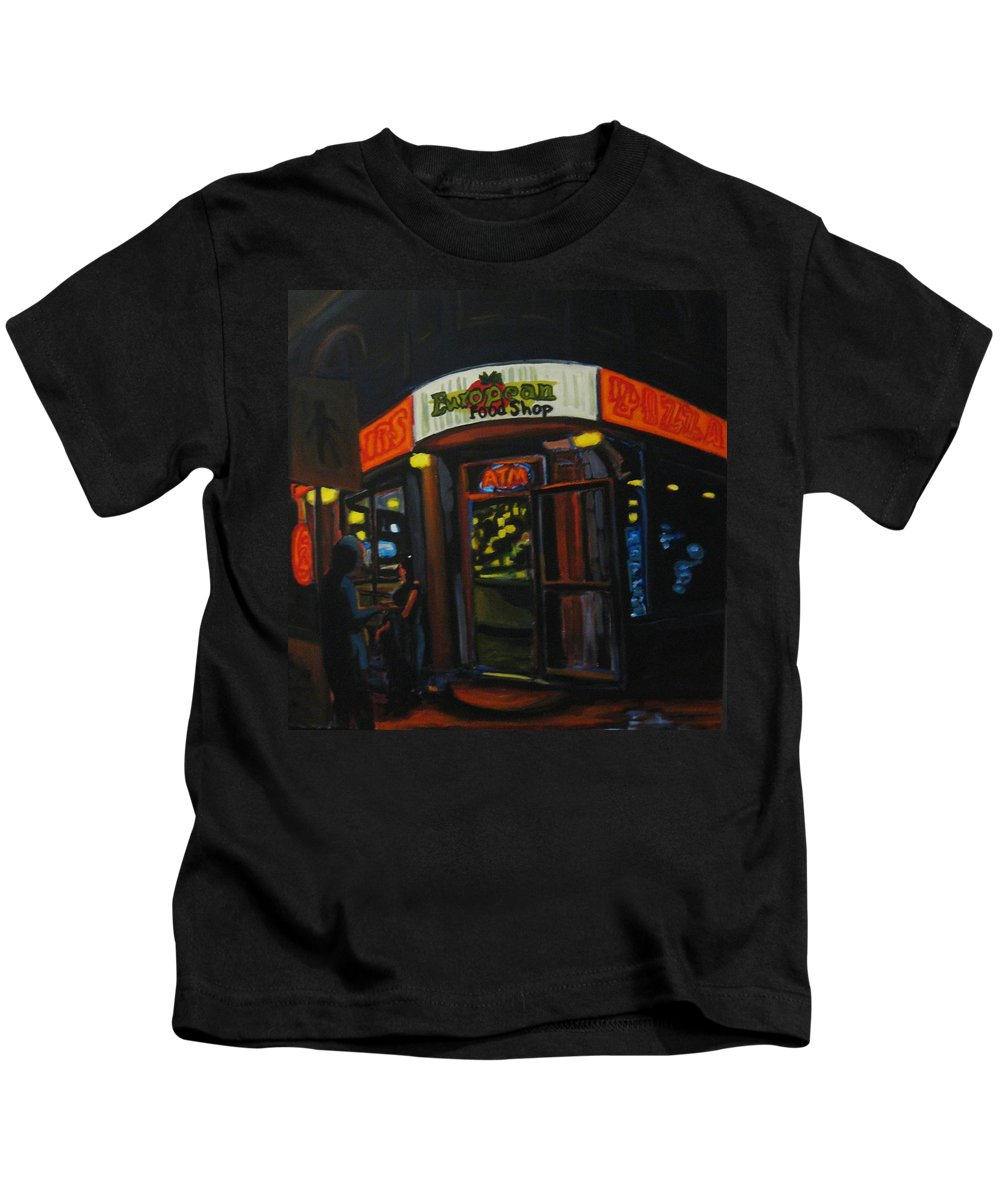 City Kids T-Shirt featuring the painting European Food Shop by John Malone