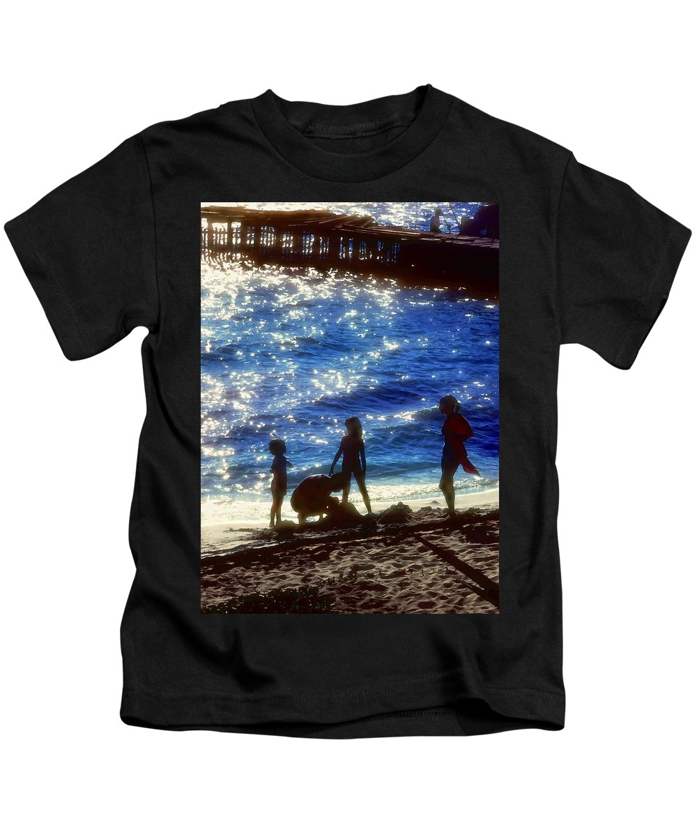 Beach Kids T-Shirt featuring the painting Evening At The Beach by Stephen Anderson