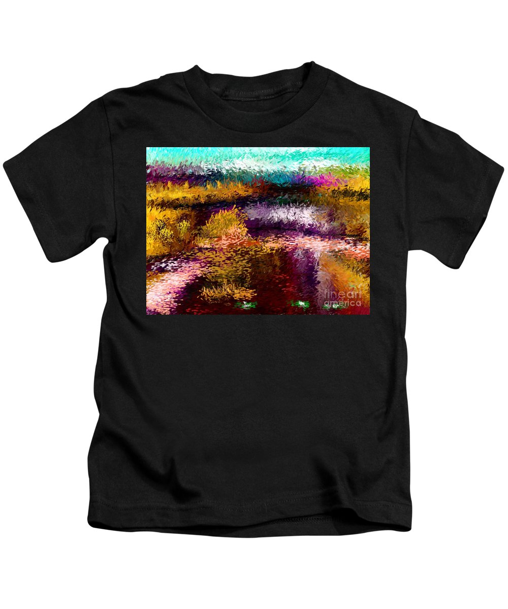 Abstract Kids T-Shirt featuring the digital art Evening At The Pond by David Lane