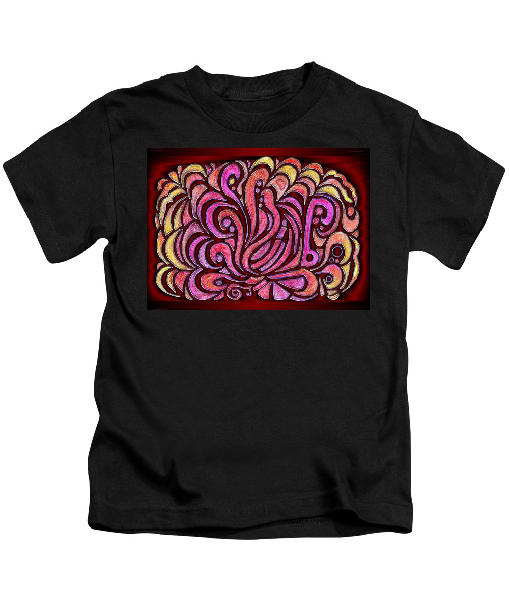 Digital Kids T-Shirt featuring the drawing Evening Bonfire by Mark Sellers