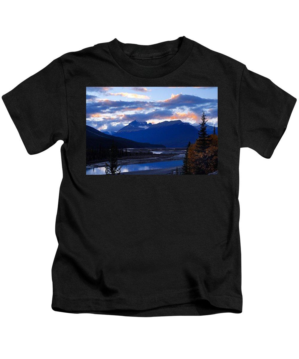 Upper Saskatchewan River Kids T-Shirt featuring the photograph Evening Clouds by Larry Ricker